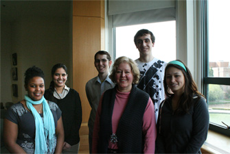 HCDE students worked on the redesign of the UDB as part of their directed research group. This group of students focused on redesigning UDB's ReportFinder function. From left: Nebiat Abraha, Anuradha Vellineni, Logan Wells, Paula Croxon, Alan Rumpel, and Kim Brown.