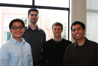 HCDE students worked on the redesign of the UDB as part of their directed research group. This group of students redesigned the UDB study form using a wizard model. From left: Brian Espinosa, Jon McClay, Brian Hayes, and Julius Magsino. Not pictured: Leo Ham and Josie Nutter.