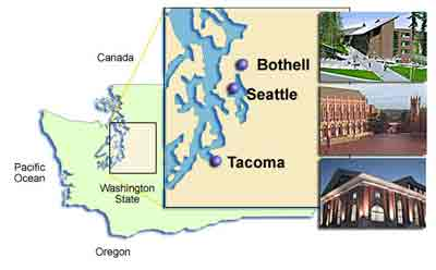 Map of UW campuses in Washington state.