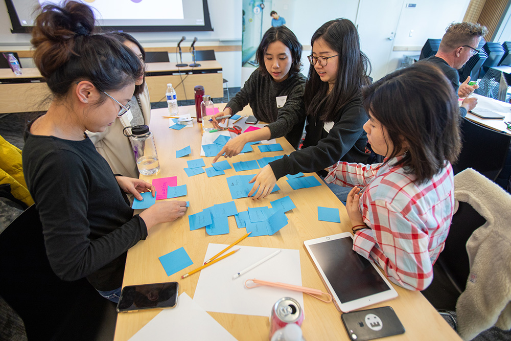 students sorting sticky notes