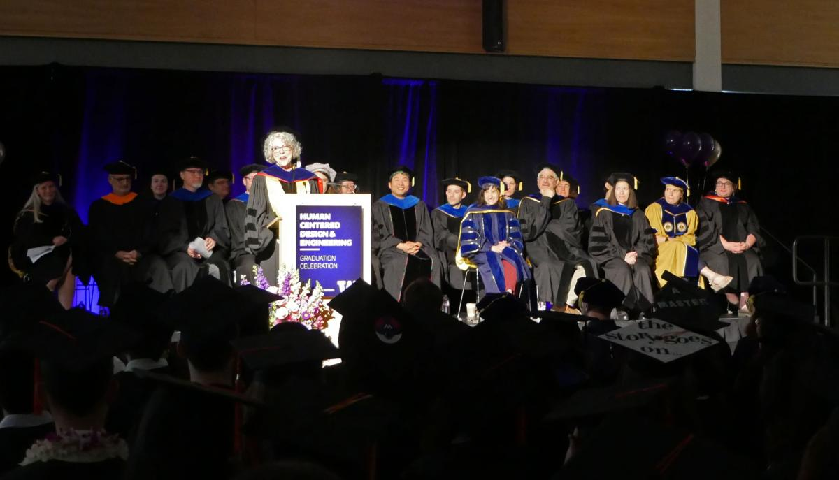 Dr. Laurel on the stage at the 2019 graduation
