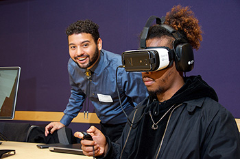 Students and VR headset