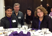HCDE students and Sakson scholars Amado Robancho and Thuy Duong enjoy lunch at the 2011 Scholar-Donor Recognition Luncheon with Donna Sakson and husband Jonathan Mark. Sakson and Mark are the founders of the Sakson Diversity Undergraduate Scholarship. From left: Amado Robancho, Jonathan Mark, Thuy Duong, and Donna Sakson.