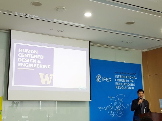 Caleb Park presenting to a group at IFER