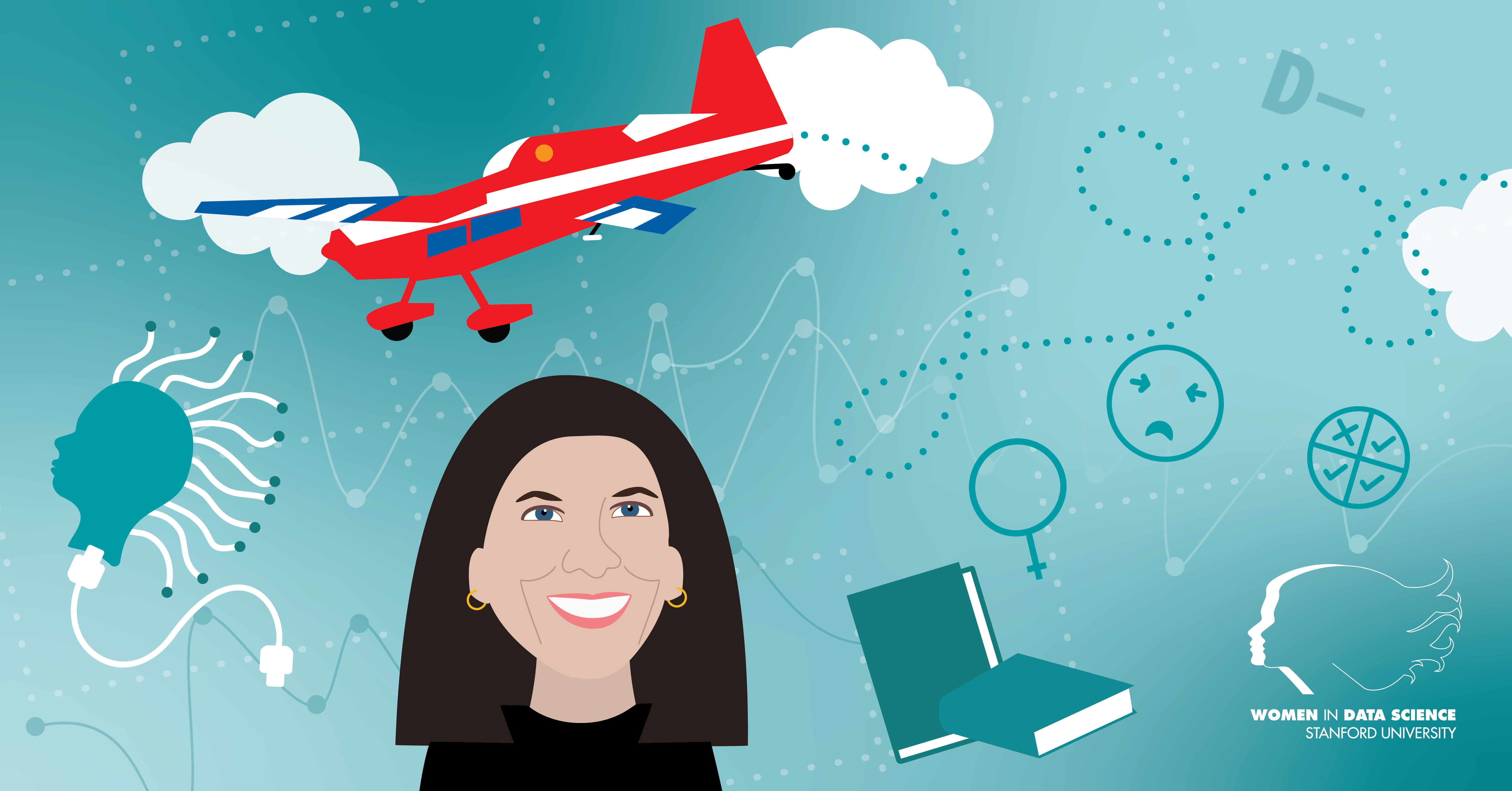 Illustration of Cecilia Aragon with a red plane behind her