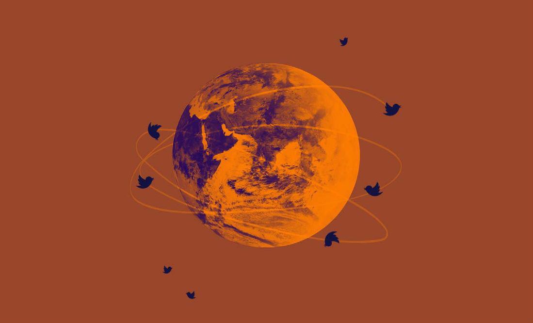 Illustration of twitter bird icons circling the globe