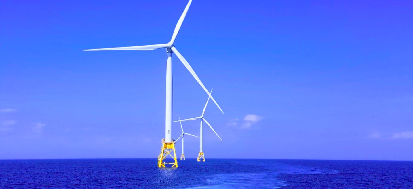 wind turbine in blue water