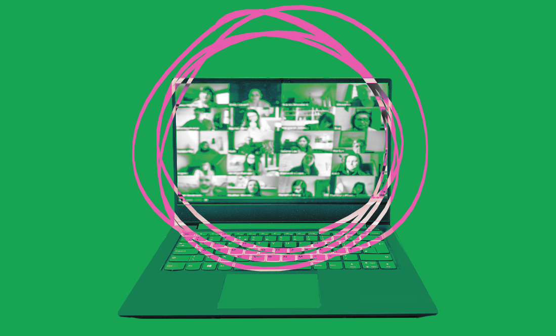 Illustration of laptop with zoom screen